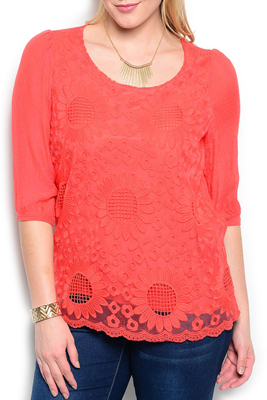 Plus Size Flower Embroidered Knit Top
