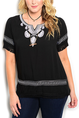 Plus Size Boho Chic Paisley Embroidered Top