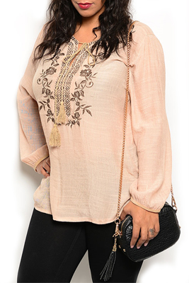 Plus Size Embroidered Tribal Floral Stringed Neckline Tunic Top