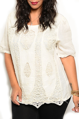 Plus Size Demure Sheer Knit Damask Cut Out Embroidered Overlay Top