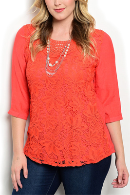 Plus Size Sheer Floral Crocheted Lace Top