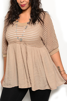 Plus Size Trendy Woven Knit Three Quarter Sleeve Cinched Top