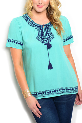 Plus Size Embroidered Tie-able Neckline Top