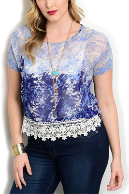 Plus Size Sheer Floral Crocheted Hem Top