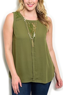 Plus Size Lace Panel Neckline Sleeveless Top