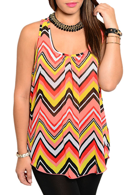 Plus Size Sexy Sheer Chevron Racerback Sleeveless Top