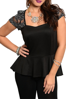 Plus Size Trendy Mesh Floral Lace Overlay Sleeves Peplum Top