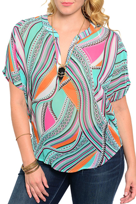 Plus Size Trendy Mixed Print Kimono Sleeve V Neckline Blouse Top