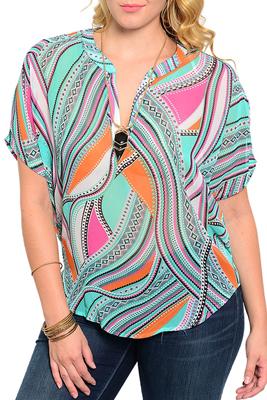 Plus Size Mixed Print Kimono Sleeve V Neckline Blouse Top