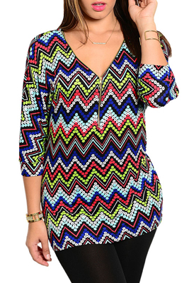 Plus Size Trendy Bubble Chevron Zipper Front Knit Top