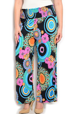 Plus Size Abstract Floral Palazzo Pants