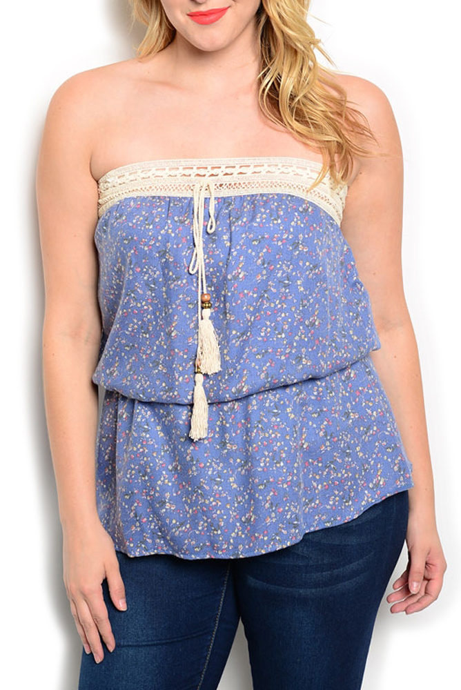 DHStyles Women's Blue Cream Plus Size Vintage Chic Strapless Crocheted Floral Top - 1X Plus