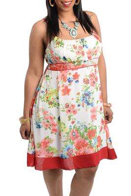 Ivory Wine Plus Size Classy Floral Print Sleeveless Summer Dress