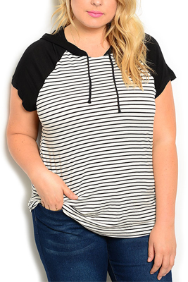 Plus Size Sheer Striped Hooded Knit Top