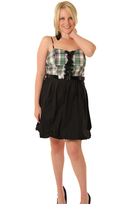 Plaid Bubble Hem Plus Size Dress with Belt
