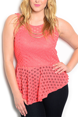Plus Size Sexy Sheer Polka Dot Peplum Top