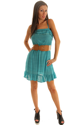 Cotton Heathered Sheer Summer Dress with Belt