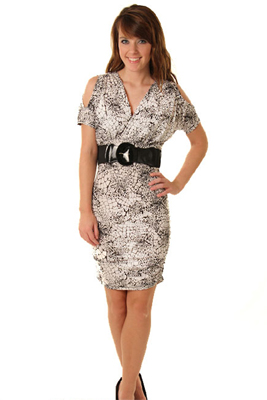 Chic Animal Print Slit Sleeve Dress with Belt