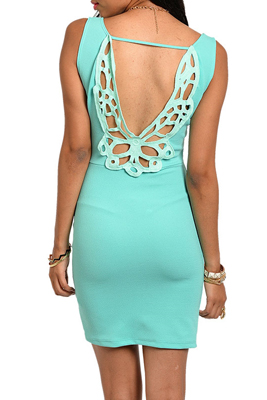 Trendy Embellished Open Back Date Dress