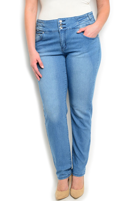 Plus Size 3 Button Slim Fit Skinny Jeans