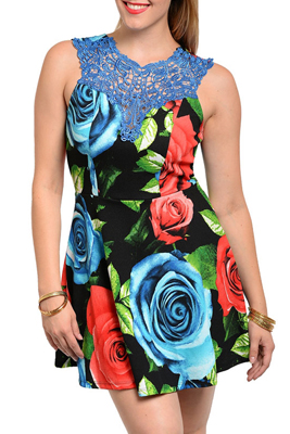 Plus Size Flirty Sheer Crocheted Floral Party Dress