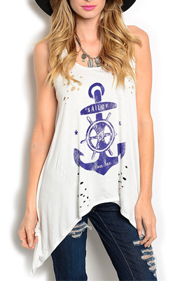 Sexy Cut Out Anchor Sharktail Knit Tank Top