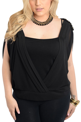 Plus Size Trendy Dressy Open Sleeve Draped Top