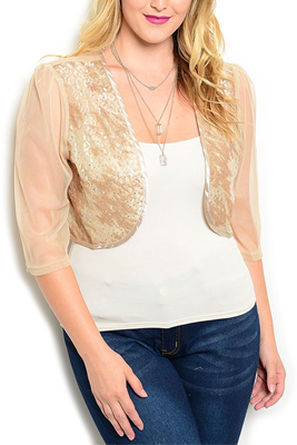 Plus Size Sequined Cropped Dressy Cardigan