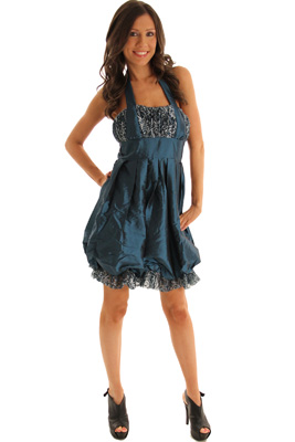 Glam Taffeta Halter Bubble Dress