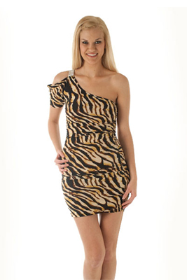 Slinky Cold Shouldertiger Print Mini Club Dress