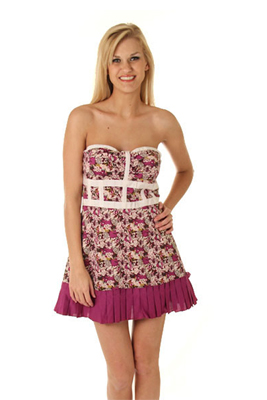 Strapless Ditzy Floral Spring Dress