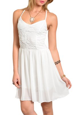 Sexy Textured Strapless Crisscross Back Party Dress