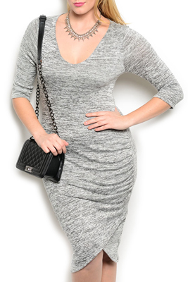 Plus Size Classy Fitted Tulip Wrap Soft Knit Office Dress