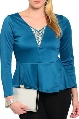 Plus Size Dressy Jeweled Neck Long Sleeve Knit Peplum Top