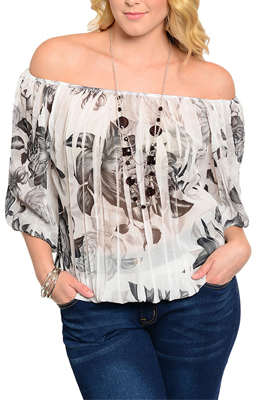 Plus Size Dressy Floral Print Off Shoulder Top with Necklace