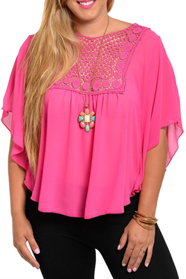 Plus Size Trendy Chiffon Floral Crochet Open Back Top