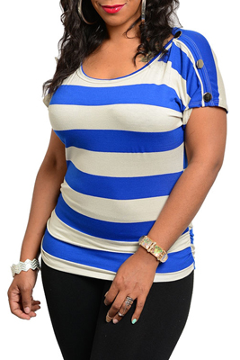 Plus Size Sexy Short Sleeve Striped Knit Top
