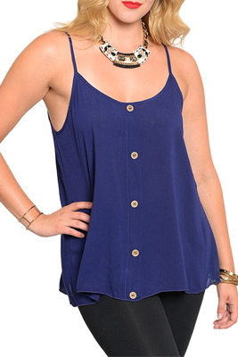 Plus Size Racerback Buttoned Spaghetti Strap Tank Top