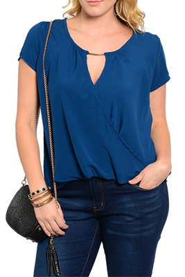 Plus Size Sheer Chiffon Keyhole Wrap Front Short Sleeve Flowy Top