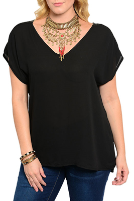 Plus Size Chiffon V Naeckline Inside-Out Hem Short Sleeve Flowy Top