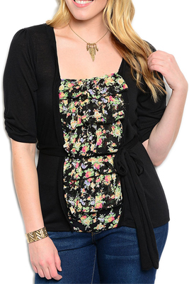 Plus Size Floral Ruffled Combination Top