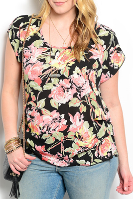 Plus Size Girly Floral Flowy Top