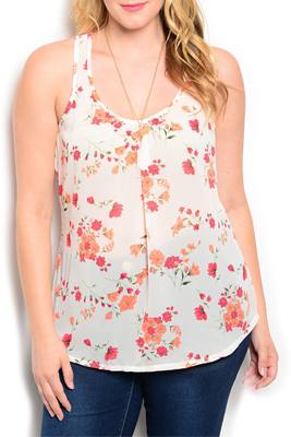 Plus Size Floral Fitted Ruffled Tank Top