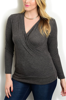 Plus Size Wrap V Neck Long Sleeve Top