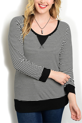 Plus Size Sheer Striped Long Sleeve Top