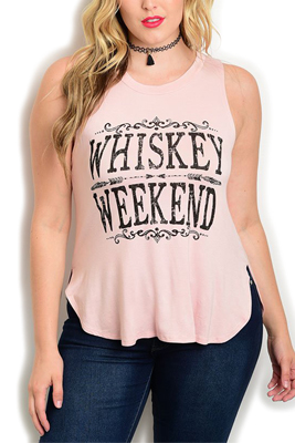 """Plus Size """"Whiskey Weekend"""" High-Low Top"""
