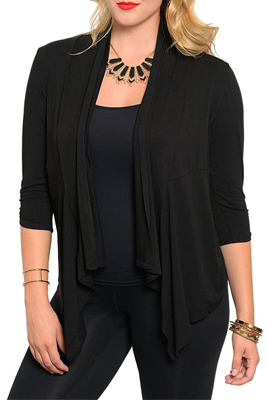 Plus Size Trendy Three Quarter Sleeve Open Cardigan Top