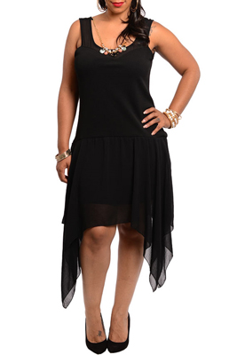 Plus Size Sexy Sheer Mesh Asymmetrical Date Dress with Necklace