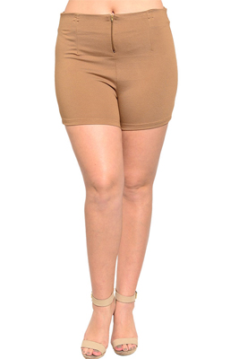 Plus Size Trendy Knit High Waist Dressy Shorts