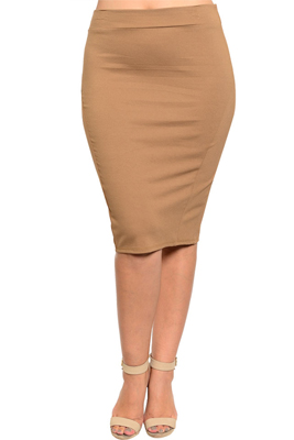 Plus Size Demure Knit Paneled Fitted Pencil Skirt